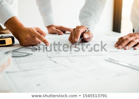 Architect tekening blauwdruk beveiligingsapparatuur bureau Stockfoto © AndreyPopov
