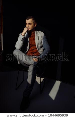 ülő elegáns férfi fekete csokornyakkendő külső Stock fotó © feedough