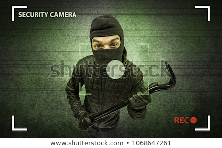 Betörő ház kamera tevékenység fekete ruházat Stock fotó © ra2studio