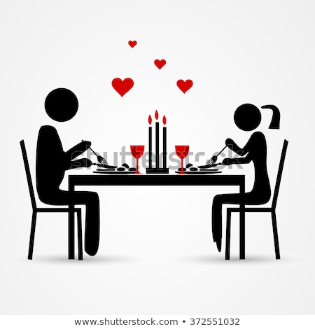 Stick figure at the first date at the romantic table Stock photo © Ustofre9