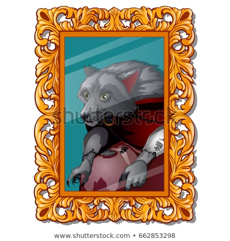vintage portrait with ornate florid frame with a picture of a werewolf isolated on white background stock photo © lady-luck