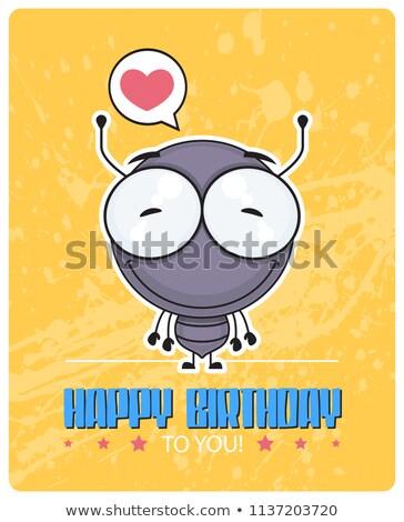 Desenho animado formiga festa de aniversário ilustração festa seis Foto stock © cthoman