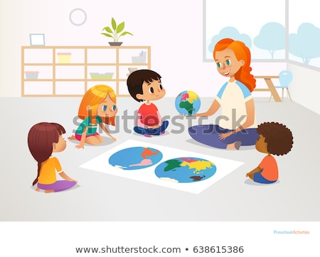 Geography Lesson Poster with Smiling Characters Stock photo © robuart