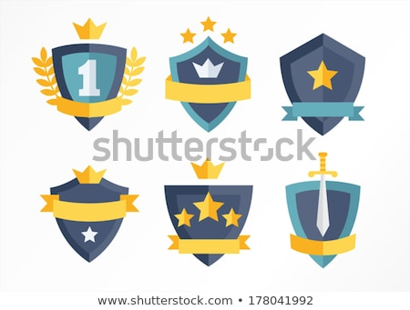 ribbon and crowns swords set vector illustration stock photo © robuart