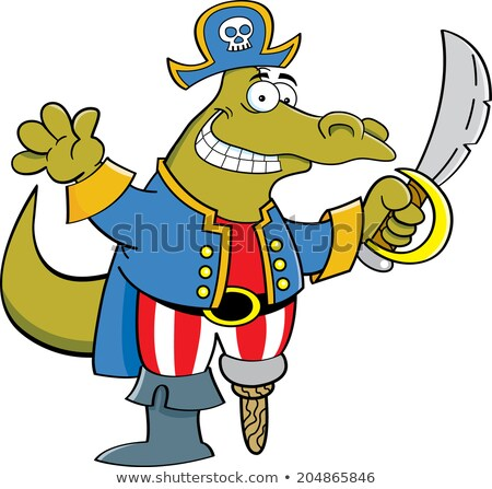cartoon · alligator · piraat · illustratie · zwaard · dier - stockfoto © bennerdesign