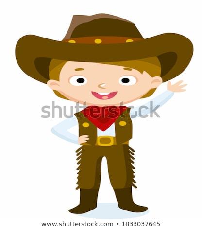 öfkeli karikatür erkek kovboy örnek bakıyor Stok fotoğraf © cthoman