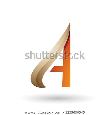 Beżowy pomarańczowy list wektora odizolowany biały Zdjęcia stock © cidepix