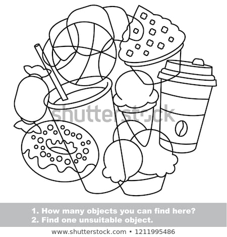 Indovinare alimentare oggetti gioco libro da colorare bianco nero Foto d'archivio © izakowski