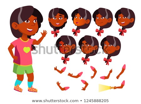 girl child kid teen vector indian hindu asian friend clever positive person face emotions stock photo © pikepicture