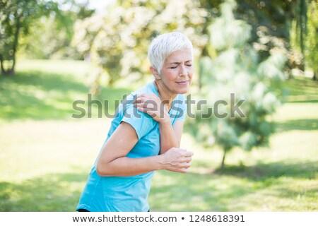 mulher · dor · no · ombro · isolado · branco · mão - foto stock © boggy
