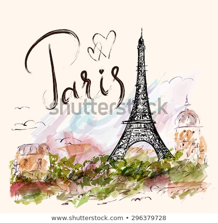 france poster with text and eiffel tower vector stock photo © robuart