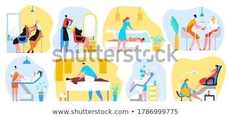hair styling woman and pedicure service set vector stock photo © robuart