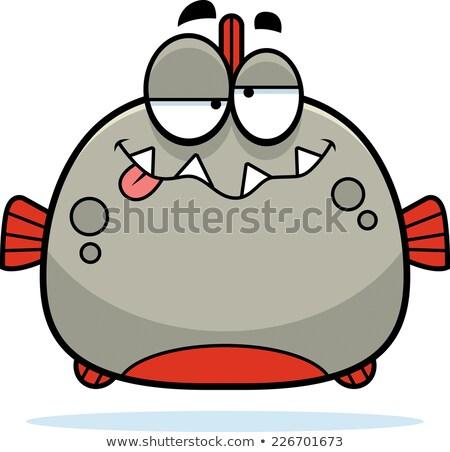 Karikatür sarhoş pirana örnek bakıyor balık Stok fotoğraf © cthoman