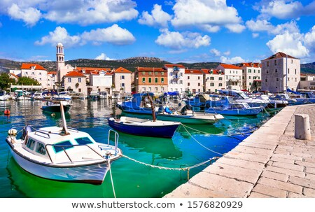 Kastel Novi turquoise harbor and historic architecture view Stock photo © xbrchx