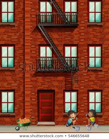 アパート · 子供 · 実例 · 外に · 少女 · 子供 - ストックフォト © colematt