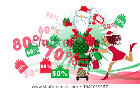 Christmas Sale Clearance Poster, Woman Santa Claus Stock photo © robuart