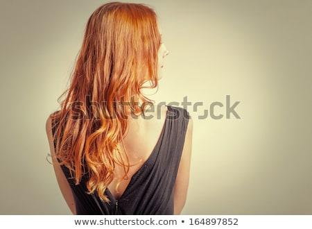 Bella elegante donna vestito rosso ritratto lungo Foto d'archivio © doodko