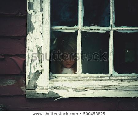Lány ijedt kisértetjárta ház szellemek illusztráció Stock fotó © colematt