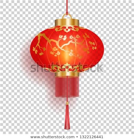 Vermelho chinês lanterna ouro sakura padrões Foto stock © MarySan