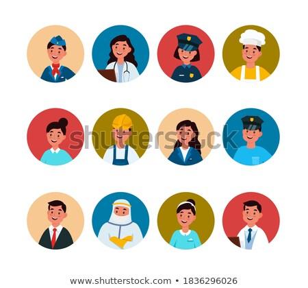 zestaw · policjant · charakter · ilustracja · tle · bezpieczeństwa - zdjęcia stock © netkov1