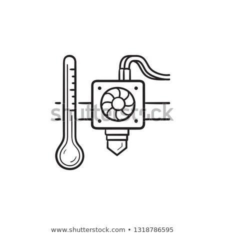 3D printer extruder temperature hand drawn outline doodle icon. Stock photo © RAStudio