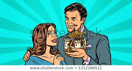 Férj feleség középkori kastély ajándék pop art Stock fotó © studiostoks