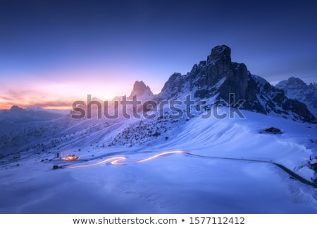 dolomite mountains covered in snow stock photo © frimufilms
