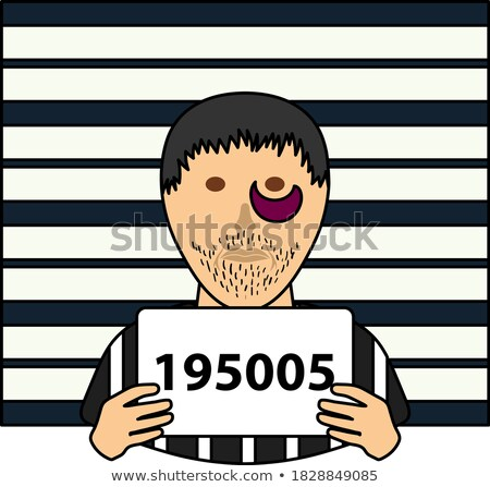 prisoner in front of wall with scale icon stock photo © angelp