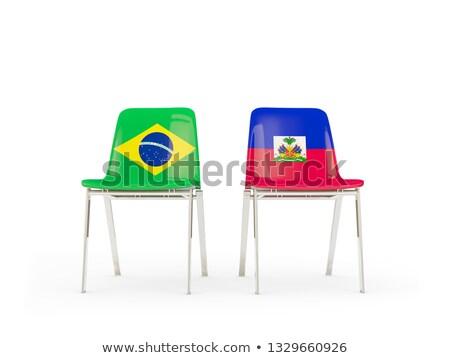 Iki sandalye bayraklar Brezilya Haiti yalıtılmış Stok fotoğraf © MikhailMishchenko