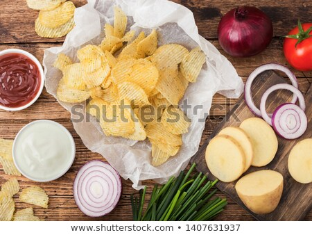 Stockfoto: Vers · organisch · eigengemaakt · aardappel · chips · zure · room