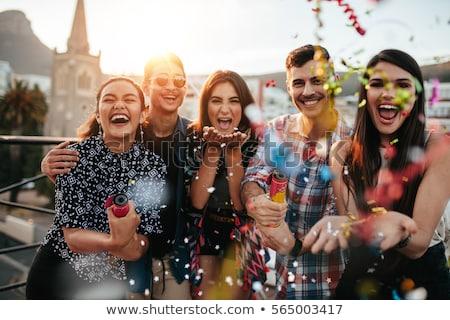 Stock photo: Happy friends having fun outdoors