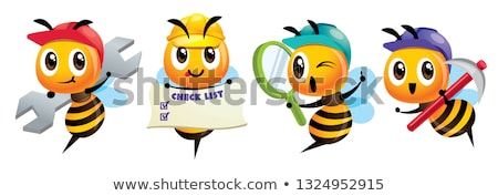 Cartoon cute bee mascot set. Cartoon cute bee holding a spanner, holding a signage, holding a magnif stock photo © charactoon