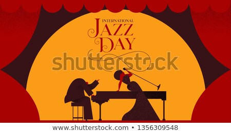 Stock photo: Jazz Day card of woman singer and piano player
