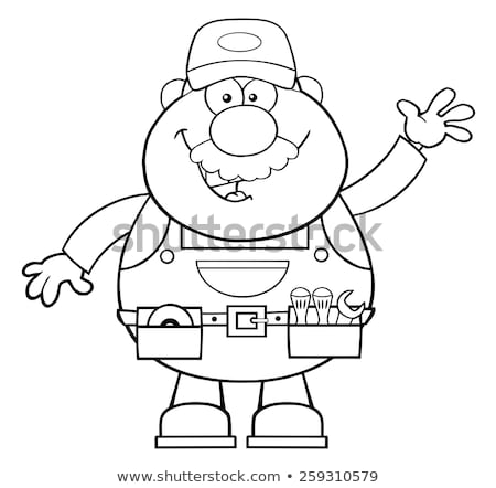 black and white smiling mechanic cartoon character waving for greeting stock photo © hittoon
