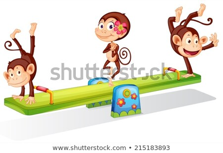 Three playful monkeys playing with the seesaw stock photo © colematt