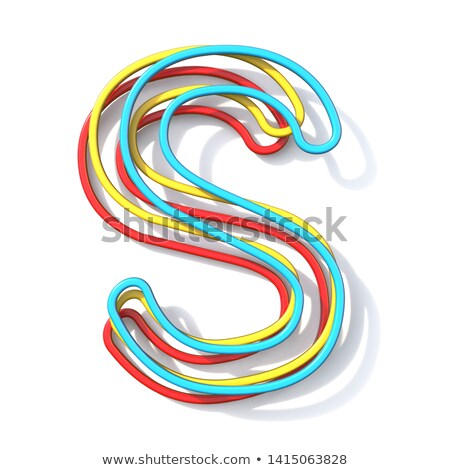 three basic color wire font letter s 3d stock photo © djmilic