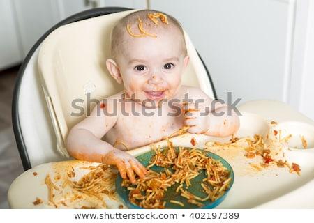Kicsi eszik vacsora készít rendetlenség kéz Stock fotó © Lopolo