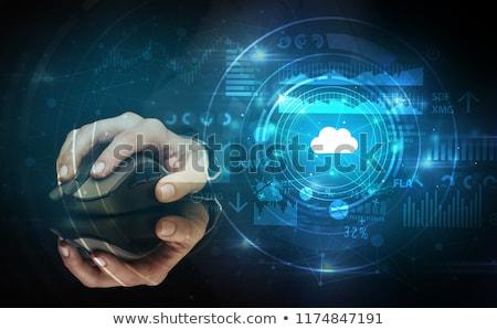 kéz · egeret · használ · felhő · technológia · drótnélküli · egér - stock fotó © ra2studio