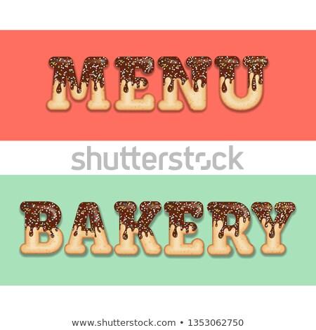 Tentant typographie cerise texte mots menu Photo stock © balasoiu
