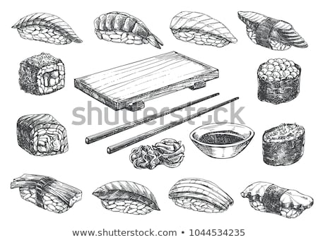 Vector sushi sketch, Philadelphia rolls Stock photo © netkov1