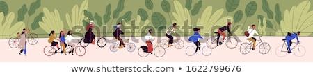 ベクトル · 女性 · 自転車 · 孤立した · 白 · 子供 - ストックフォト © robuart