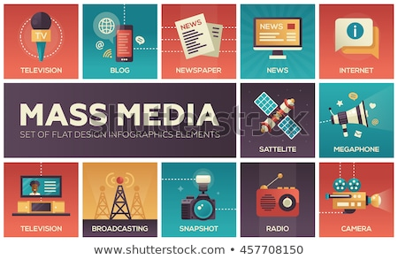 mass media flat icons set stock photo © netkov1