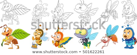 Color Flying Honey Bee Insect Gathering Nectar Vector Stock photo © pikepicture