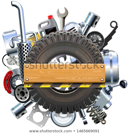 Vector Board with Truck Wheel and Spares Stock photo © dashadima