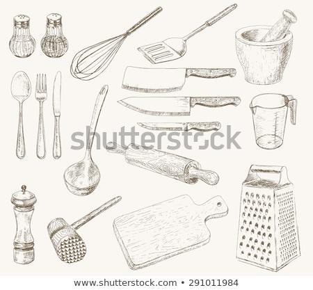 Stockfoto: Vintage · keuken · ingesteld · vlees · vork