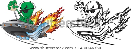 UFO Alien Hot Rod Isolated Vector Illustration in Full Color and Line Art Stock photo © jeff_hobrath