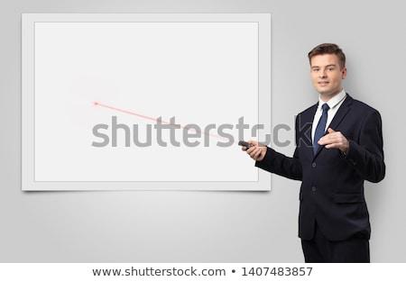 Zakenman laser exemplaar ruimte witte Blackboard jonge Stockfoto © ra2studio
