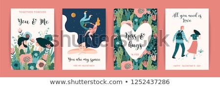 happy couple and heart with flowers love vector stock photo © robuart