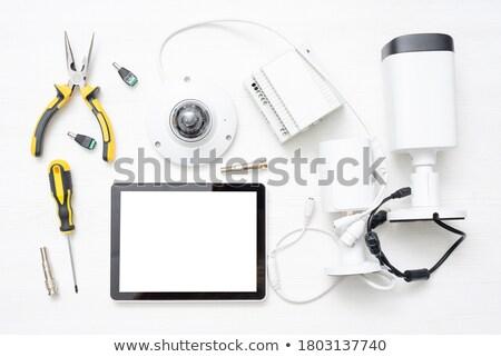 Biztonsági felszerelés fehér elektronikus eszközök otthoni iroda biztonság Stock fotó © magraphics