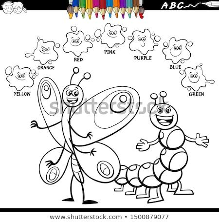 Fundamenteel kleuren vlinder rups cartoon illustratie Stockfoto © izakowski